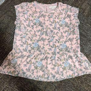 Loft pink peplum blouse